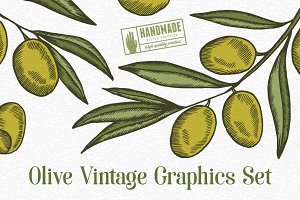 Olive Vintage Graphics Set