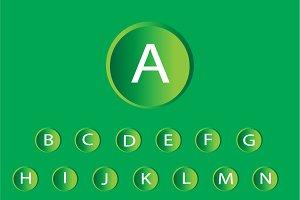 neon buttons font green vector