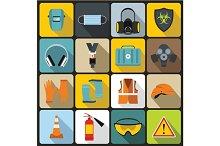 Safety icons set, flat style