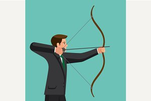 The man is shooting arrow out