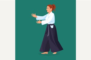 Woman is practicing aikido