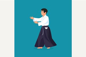 Man is practicing aikido