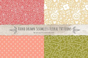 Hand Drawn Seamless Floral Patterns