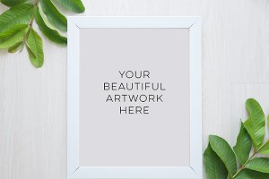 White frame, botanical style mock up