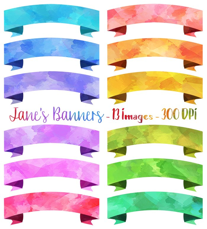 Watercolor Banners Clipart ~ Illustrations ~ Creative Market