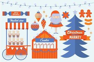 christmas market template vector