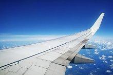 Aircraft wing in flight