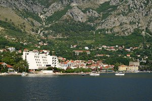 View on town of Risan, Montenegro
