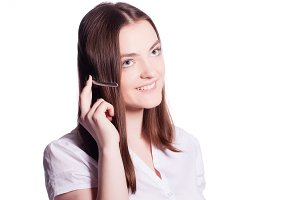 Beautiful customer service operator