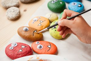 Painting stone monsters
