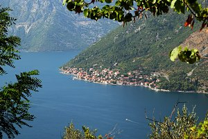 View of town Perast from mount Vrmac
