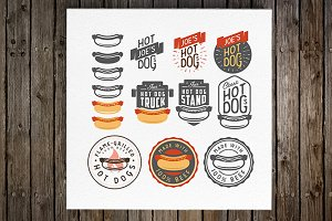 Set of hot dog emblems and labels