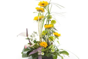 Floral arrangement with sunflowers