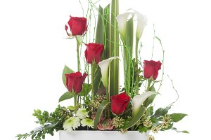 Floral arrangement with red roses