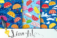 3 seamless patterns with umbrellas