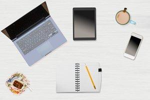 Desktop view of technology in office