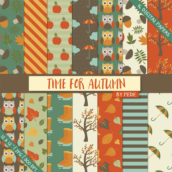 Time for autumn digital paper