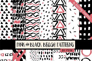 Pink and black brush patterns
