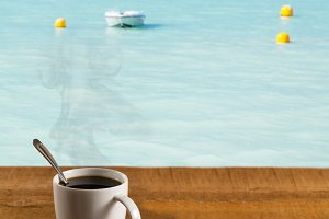 Beach scenes with table and coffee