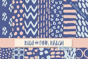 Blue and pink brush patterns