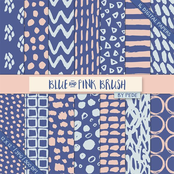 Blue and pink brush patterns in Patterns