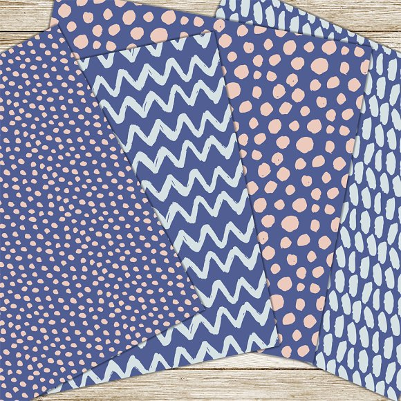 Blue and pink brush patterns in Patterns - product preview 2
