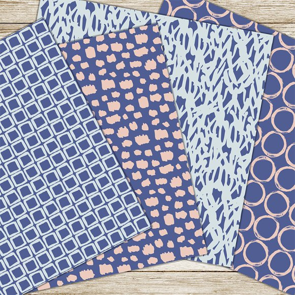 Blue and pink brush patterns in Patterns - product preview 3