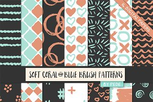 Soft coral & blue brush patterns