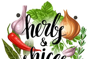Backgrounds with herbs and spices.