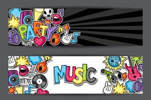 Music party kawaii banners.