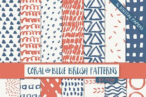 Coral and blue brush patterns