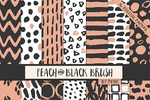 Peach and black brush patterns