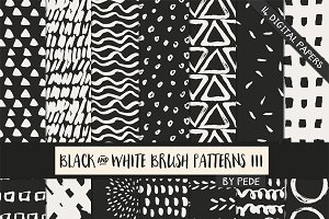 Black and white brush patterns III