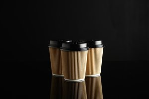Brown takeaway coffee cup mockups