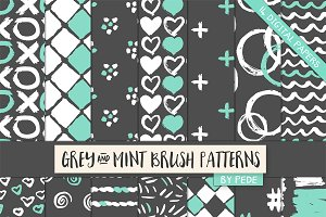 Grey and mint brush patterns
