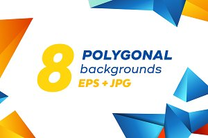 Polygonal vector backgrounds set