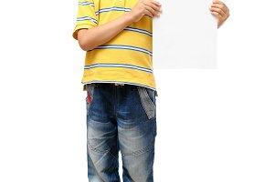 Boy holding blank poster