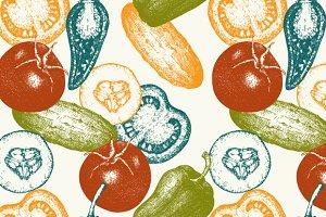 Seamless vegetables pattern