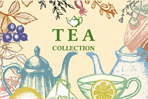 Tea hand drawn collection