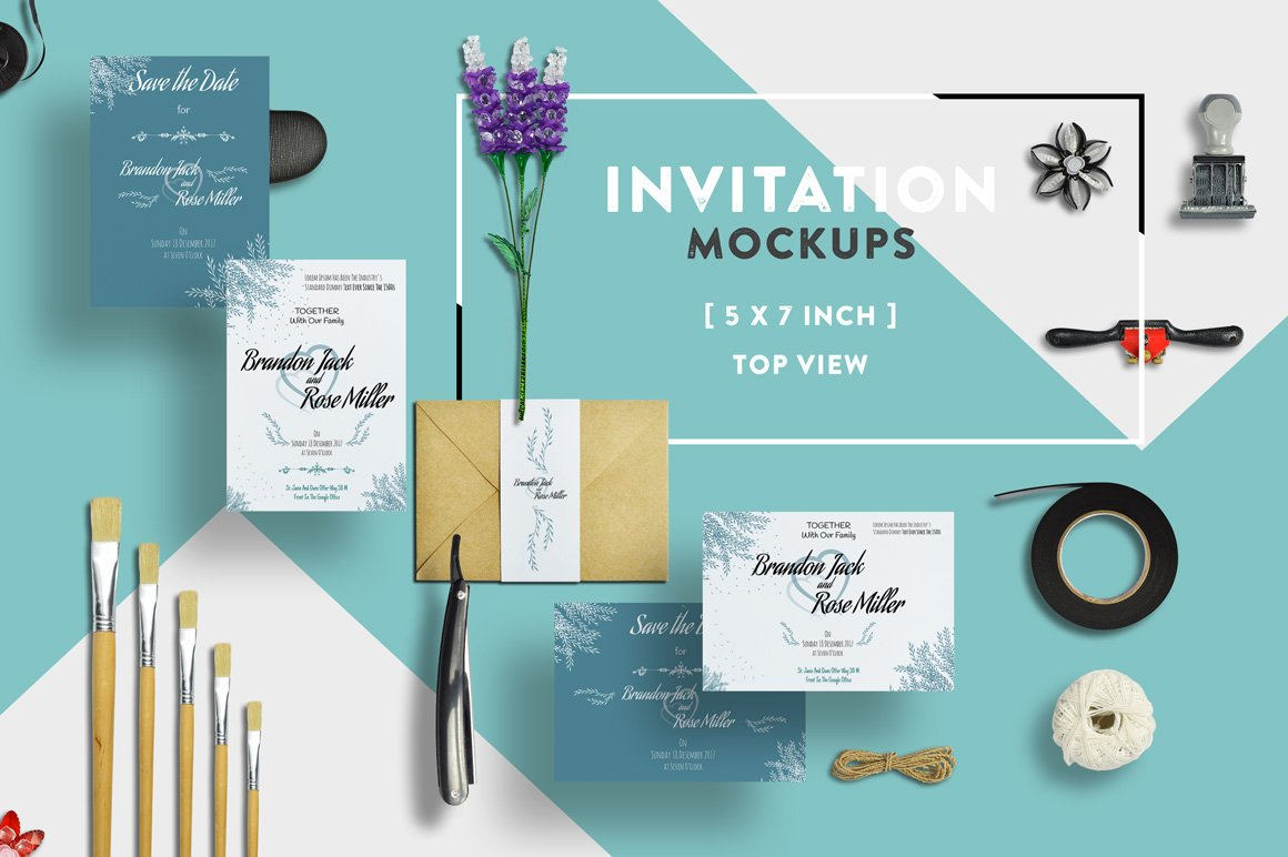 Invitation Greeting Card Mockups 5x7 Product Mockups Creative Market
