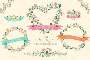 Сollection of vintage vector flowers