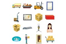 Logistics icons set, cartoon style