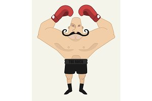 Boxer in red gloves. Vector