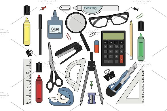 Set of stationery tools. Vector - Illustrations