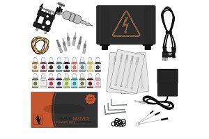 Set of tattoo equipment. Vector