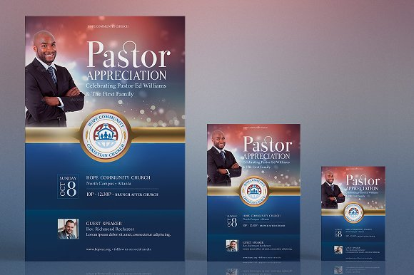 Pastor Appreciation Flyer Poster ~ Flyer Templates ~ Creative Market