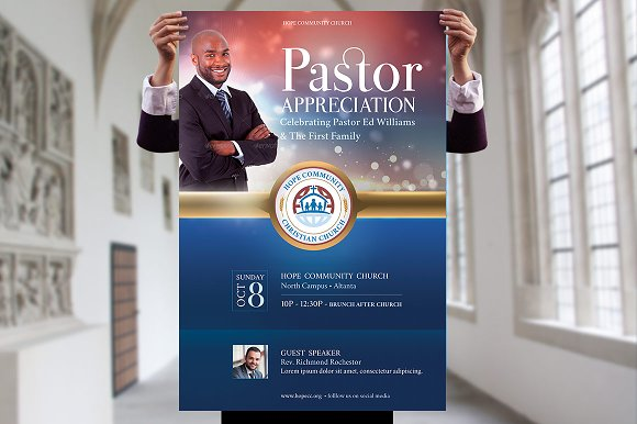 Pastor Appreciation Flyer Poster Templates Creative Market