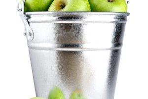 Green apples in bucket