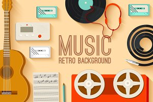 retro musical equipment background