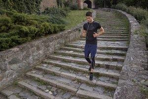 man athlete running jogging stairs
